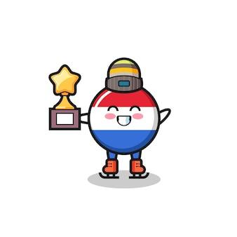 Flaga holandii odznaka kreskówka jako gracz na łyżwach trzyma trofeum zwycięzcy, ładny styl na koszulkę, naklejkę, element logo