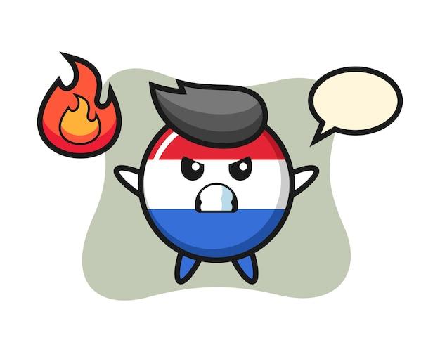 Flaga holandii odznaka kreskówka znak z gniewnym gestem