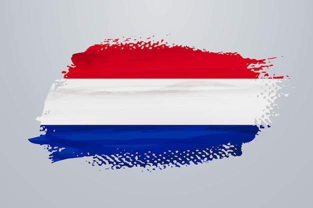 Flaga holandii pędzlem farby