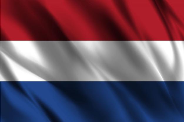 Flaga holandii pływających jedwabiu tła