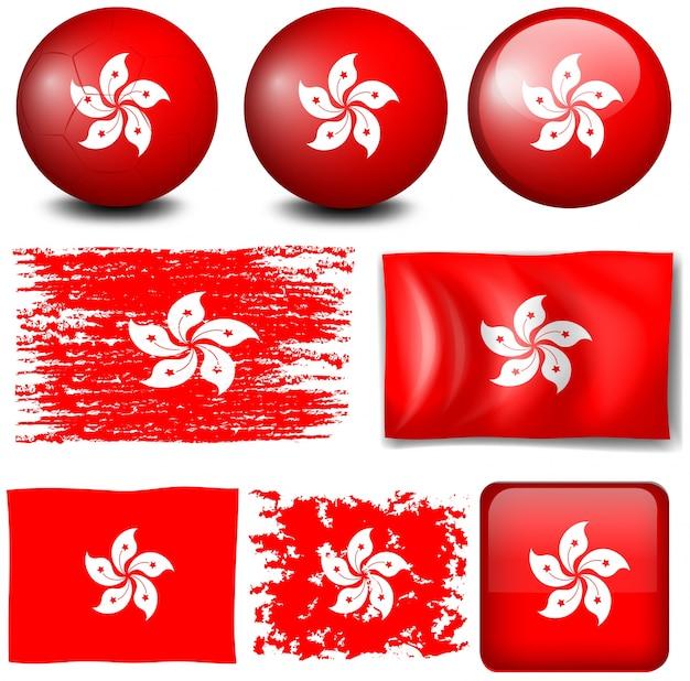 Flaga hongkongu na ilustracji wielu obiektów