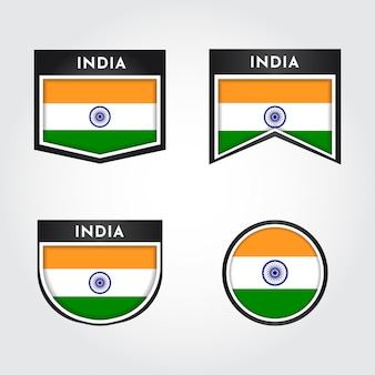 Flaga indii z etykietami z godłem