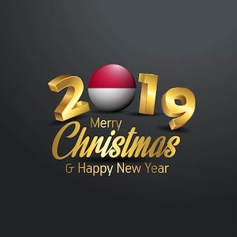 Flaga indonezji 2019 wesołych świąt typografia