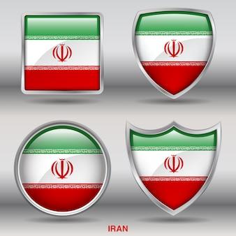 Flaga iranu bevel kształtuje ikonę