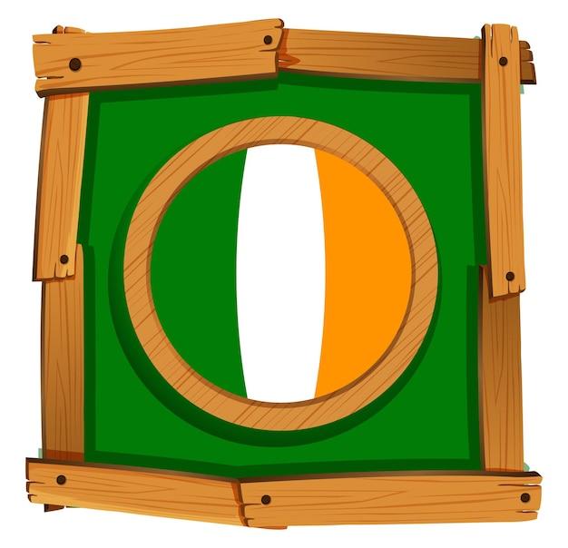Flaga irlandii na kwadratowej ramie