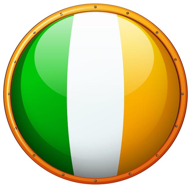Flaga irlandii na okrągłym przycisku