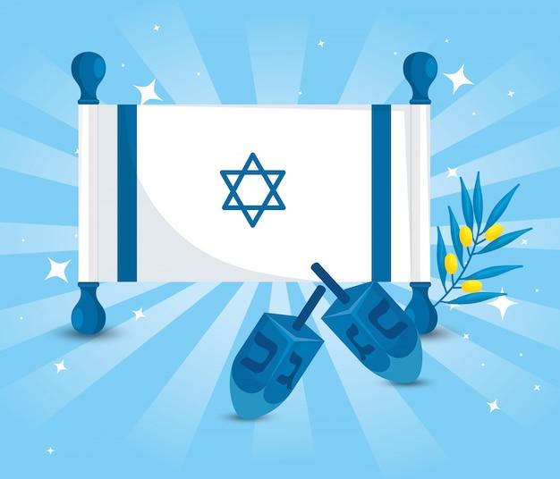 Flaga izraela z grami dreidel i gałązką oliwną