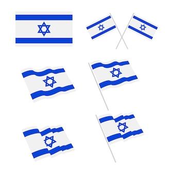 Flaga izraela zestaw ilustracji
