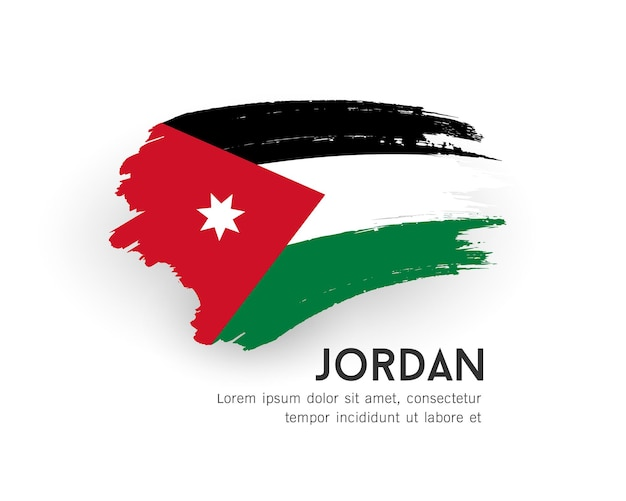 Flaga jordanii wektor wzór obrysu pędzla na białym tle ilustracji