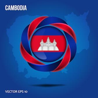 Flaga kambodży przypinka