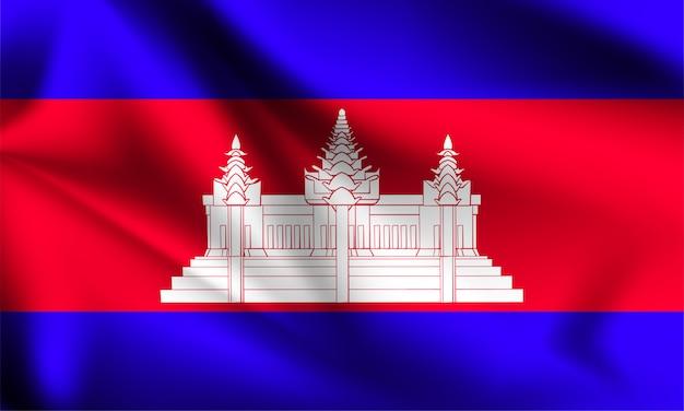 Flaga kambodży wiejący wiatr. część serii. macha flagą kambodży.