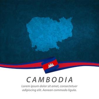 Flaga kambodży z centralną mapą