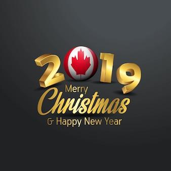 Flaga kanady 2019 wesołych świąt typografia