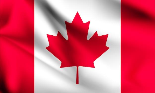 Flaga kanady wiejący wiatr. część serii. macha flagą kanady.