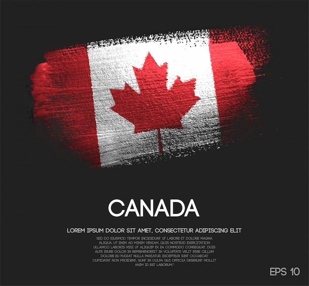 Flaga kanady z błyskiem blask pędzla farba wektor