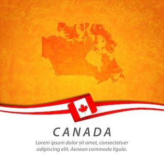 Flaga kanady z centralną mapą