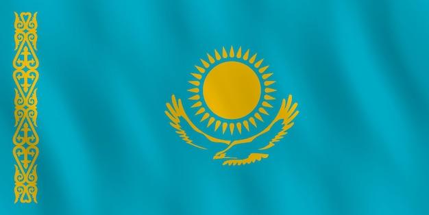Flaga kazachstanu z efektem falowania, oficjalne proporcje.