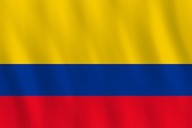 Flaga kolumbii z efektem falowania, oficjalne proporcje.