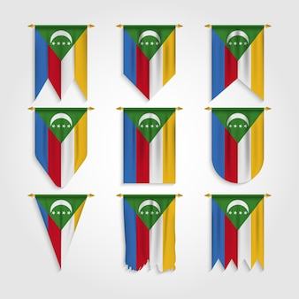 Flaga komorów w różnych kształtach, flaga komorów w różnych kształtach