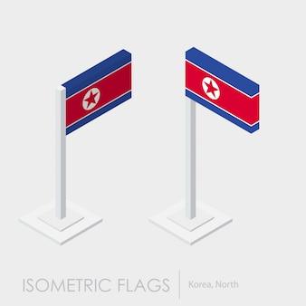 Flaga korei północnej izometryczny styl, styl 3d