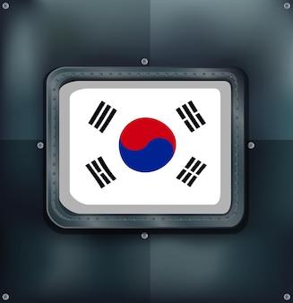 Flaga korei południowej na metalowym tle