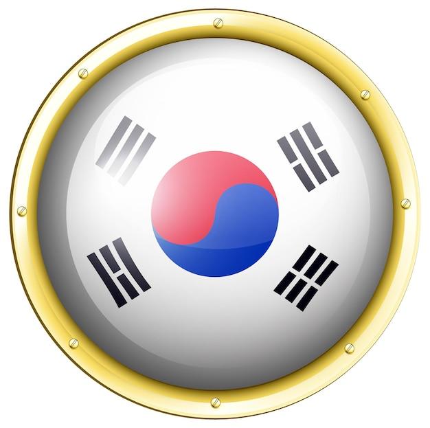 Flaga korei południowej na okrągłej odznace