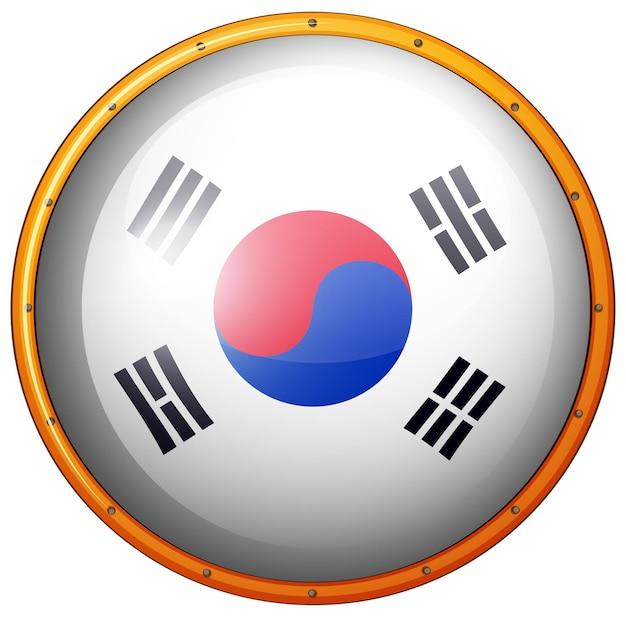 Flaga korei południowej na okrągłym przycisku