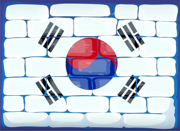 Flaga korei południowej namalowana na ceglanym murze
