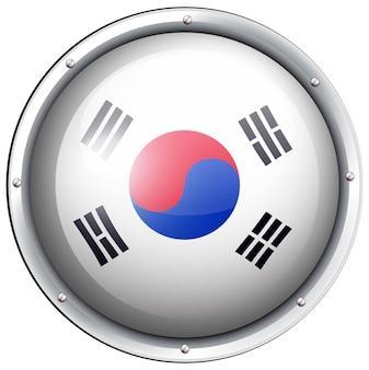 Flaga korei południowej w okrągłej ramce
