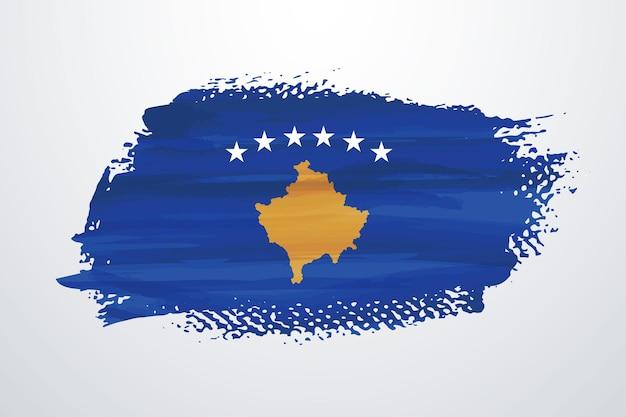 Flaga kosowa z pędzlem