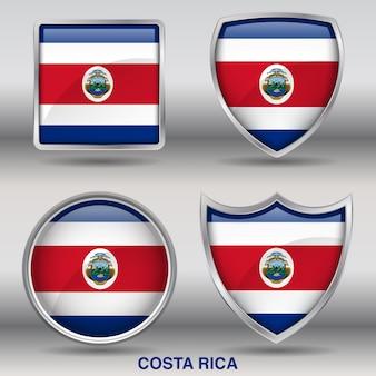 Flaga kostaryki bevel 4 kształty ikona