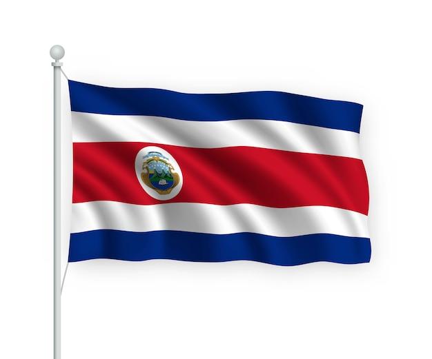 Flaga kostaryki na masztem pojedynczo na białym