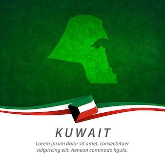 Flaga kuwejtu z centralną mapą