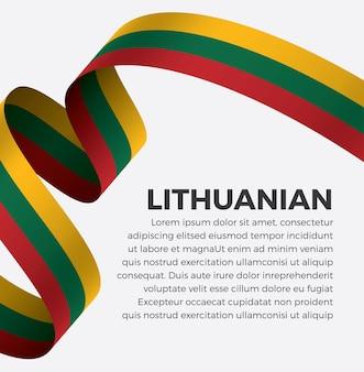 Flaga litwy wstążka wektor ilustracja na białym tle premium wektorów