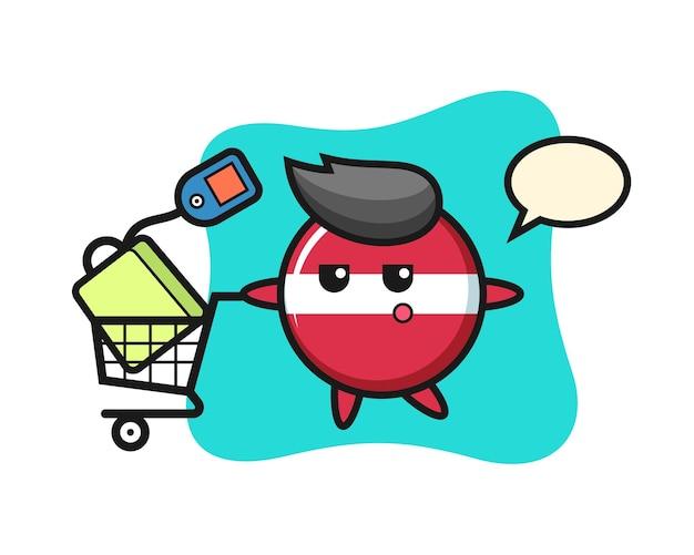 Flaga łotwy Odznaka Ilustracja Kreskówka Z Wózkiem Na Zakupy, ładny Styl Na Koszulkę, Naklejkę, Element Logo Premium Wektorów