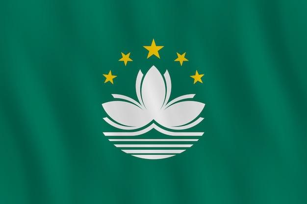 Flaga makau z efektem falowania, oficjalne proporcje.