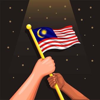Flaga malezji na symbol dłoni ludzi na obchody dnia niepodległości malezji w dniu 31 sierpnia wektor