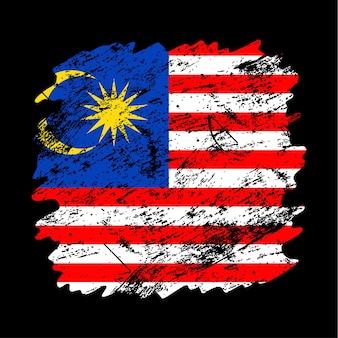 Flaga malezji tło grunge szczotka. stara ilustracja wektorowa flaga pędzla. abstrakcyjne pojęcie pochodzenia krajowego.