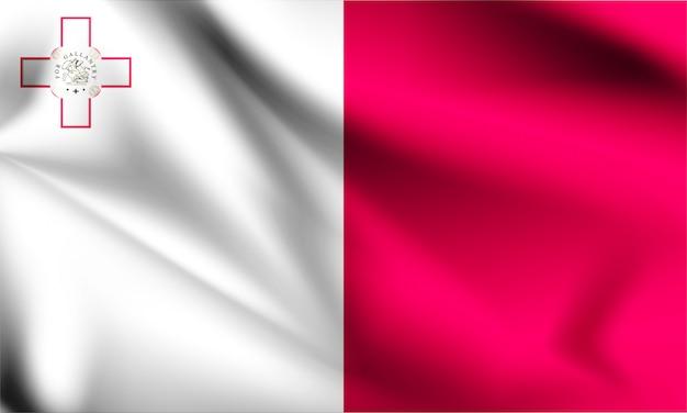 Flaga malty wiejący wiatr. część serii. machać flagą malty.