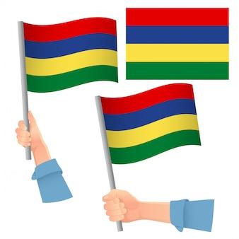 Flaga mauritiusa w zestawie ręcznym
