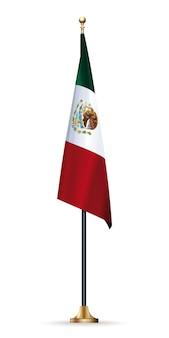 Flaga meksyku na maszcie ze stojakiem. meksykańska flaga na białym tle
