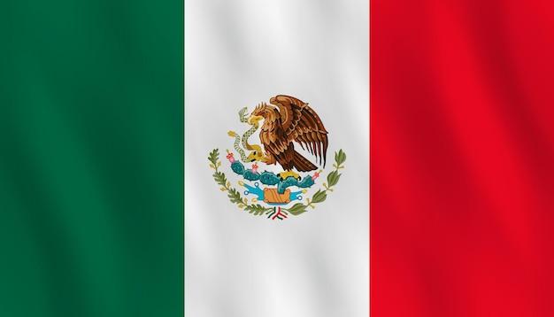 Flaga meksyku z efektem falowania, oficjalna proporcja.