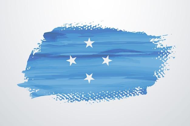 Flaga mikronezji pędzlem