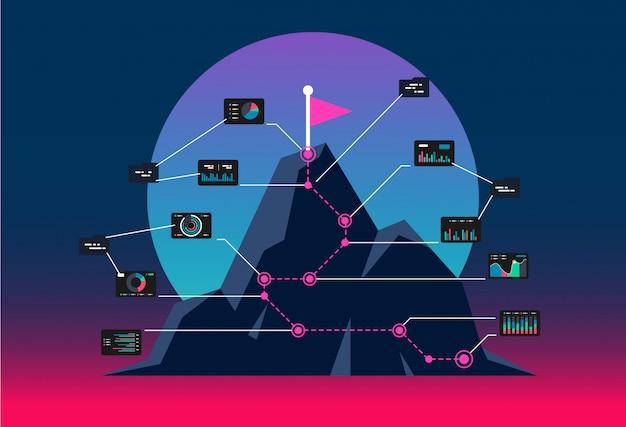 Flaga na szczycie góry. koncepcja drogi do sukcesu. infograficzna góra dla biznesu.
