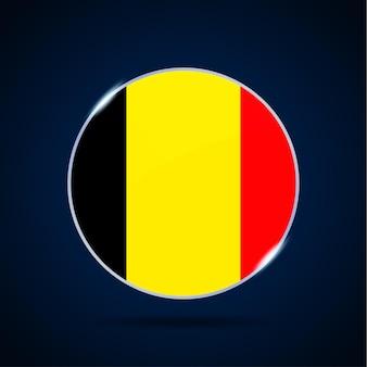 Flaga narodowa belgii ikona przycisku koło. prosta flaga, oficjalne kolory i proporcje poprawnie. ilustracja wektorowa płaski.