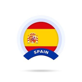 Flaga narodowa hiszpanii ikona przycisku okręgu. prosta flaga, oficjalne kolory i proporcje poprawnie. ilustracja wektorowa płaski.