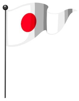Flaga narodowa japonii z masztem
