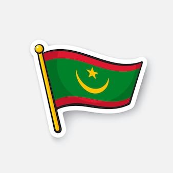 Flaga narodowa krajów mauretanii w afryce lokalizacja symbol dla podróżników ilustracja wektorowa