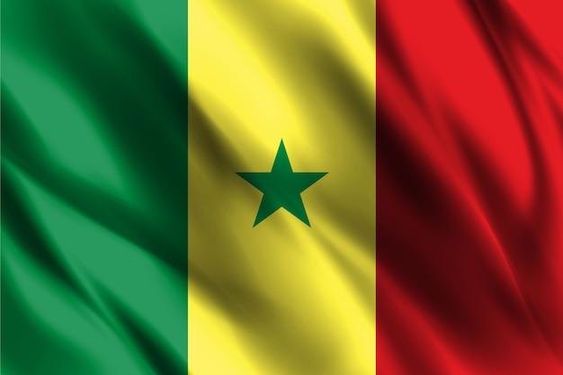 Flaga narodowa senegalu macha tło jedwabiu