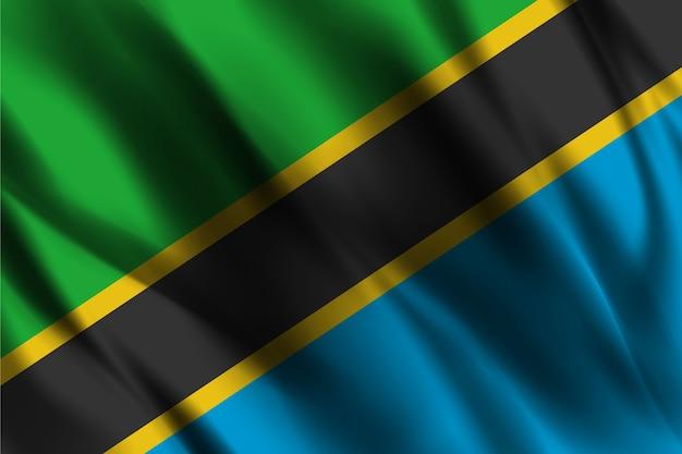 Flaga narodowa tanzanii macha tle jedwabiu